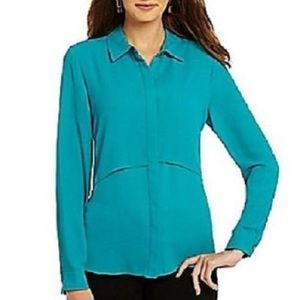 NEW Vince Camuto Azure Teal Double Layered Blouse